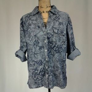 Karen Scott floral button up roll tab top XL